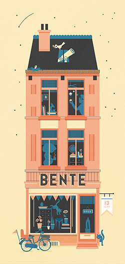 Birth announcement card for Bente