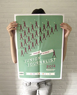 Campaign design for Junior Journalist 2014, a writing contest for youngsters organised by Davidsfonds. The theme: War & Peace. We created the poster and leaflet design.