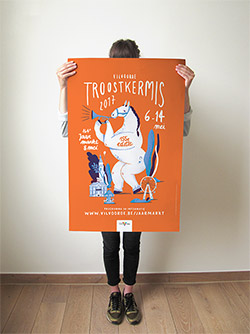 Poster design for Vilvoorde's Troostkermis 2017, by tradition with the illustration of a Belgian horse. 'Vilvoorde Troostkermis' is an annual fair organised by the city of Vilvoorde, famous for its 'Jaarmarkt', a day on which farmers gather and compete for a special price on having the most beautiful animal in their category.