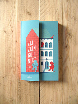 Book cover design and illustration for the title 'Zij zijn God niet', written by Roger Vanhoeck, published by Abimo.